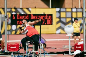 Dave competes in seated throwing.